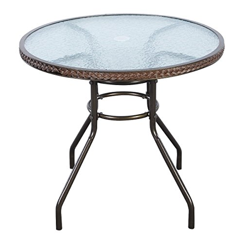Tangkula 32 Patio Table Outdoor Round Wicker Covered Edge with Tempered Glass Top and Umbrella Insert Coffee Dining Tabel Patio Furniture for Lawn Garden Pool Steel Frame Commercial Party Table