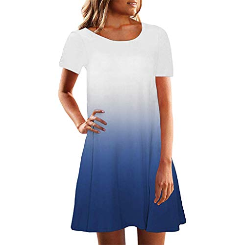 Shoulder Dress One Georgette - Sunmoot Women Short Sleeve Crew Neck Casual Loose Fitting Gradient Dresse