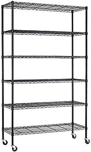 FDW Steel 6 Tier Heavy Duty Layer Storage Metal Shelf Garage Organizer Wire Rack Shelving Adjustable Utility 2