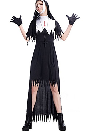 Womens Dreadful Zombie Nuns Costume Halloween Cosplay Fancy Dress - Medieval Nun Costumes