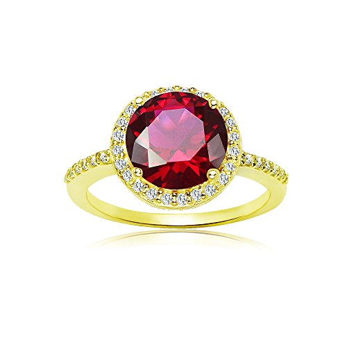 Yellow Gold Flashed Sterling Silver Simulated Ruby and Cubic Zirconia Round Halo Ring, Size (Ruby Gold Ladies Ring)