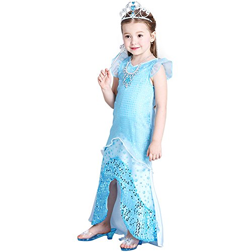 [Ariel Costume, Princess Snow Queen Party Costume Dress for Little Girls - L.] (Ariel Blue Dress Costumes)