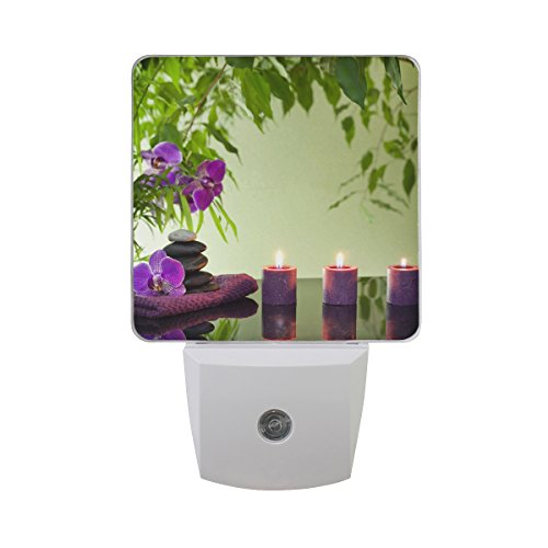 Led Light In Purple Stones With Orchids