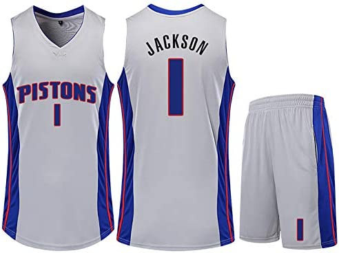 メンズバスケットボールジャージー、ピストンズジャクソンno.1ジャージースウィングマン、メンズコネクテッドバスケットボールジャージー