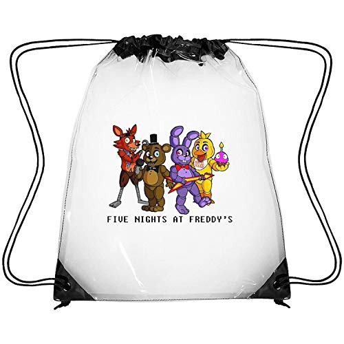 ERFDSVFSV Drawstring Clear Bags Five-Nights-at-Freddy- Printing PVC Adjustable Strap Stadium Transparent Bag (Water Works Monopoly Costume)