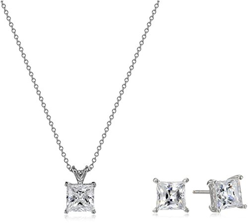 Classic Pendant Set (Platinum Plated Sterling Silver Princess-Cut Swarovski Zirconia Necklace and Stud Earrings Jewelry Set)