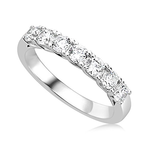 Rhodium Plated Sterling Silver Band (Sterling Silver Rhodium Plated Wedding Ring Round CZ Seven Stone Anniversary Ring 3MM (Size 5 to 10), 5)