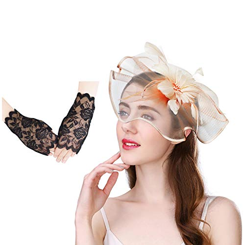 U-Zomir Fascinator Hat Feather Mesh Party Hat Flower Wedding Derby Cocktail Tea Party Headband with Clip and Lace Glove for Girls and Women (Style 1-Champagne)