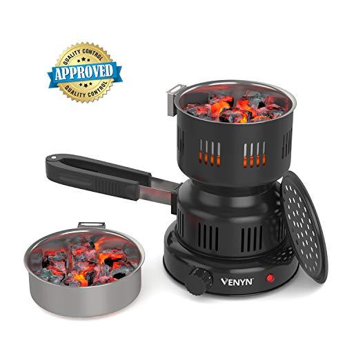 VENYN Multipurpose Charcoal Burner with Starter for Hookah, Shisha, Nargila, BBQ Fire - Porcelain Coating - Smart Heat Control - Includes Pair of Free - Burner Charcoal