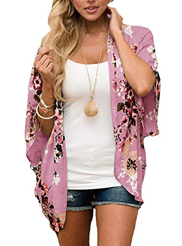 - RJXDLT Womens Floral Print Kimono Cardigan Loose Puff Sleeve Cardigans Patchwork Cover Up Blouse Top Pinkish XL 216