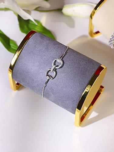 Soporte exhibidor de joyeria metal dorado y terciopelo gris