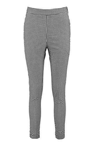 Gingham Pants (Boohoo Womens Jade Woven Gingham Slim Fit Trousers In Black Size L)