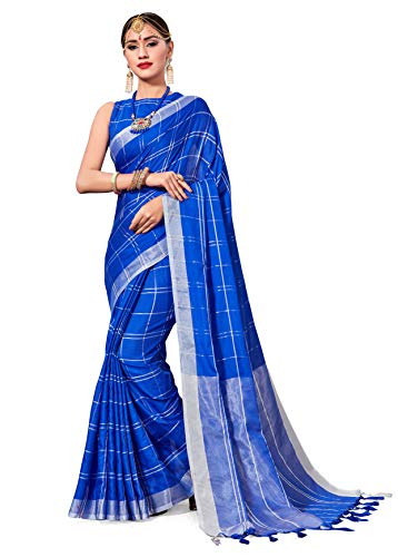 (ELINA FASHION Saree for Women Cotton Art Silk Sarees for Indian Wedding Gift, Sari and Unstitched Blouse Piece (Blue-2))