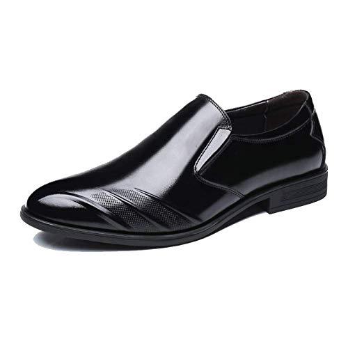 Scarpe da Uomo in Pelle Traspirante Elegante Versatile Puntinato Casual Traspirante Antiscivolo Black