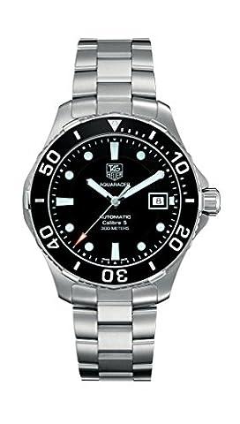 Tag Heuer Men's Aquaracer Calibre 5 Stainless Steel Black Dial Watch #WAN2110.BA0822 (Bezel Tag Heuer)