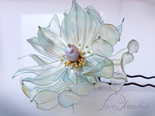 Big Pearl Flower Handmade Hair Pin White Bridal Resin Kanzashi Stick Clip Sakae by Fairy Meadow
