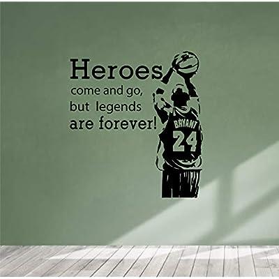 BrandVinyl Heros Come and go bat Kobe Legend - Basketball Sports Gym Wall Decal - Car Sticker Bumper Glass - for Gaming Playroom Kids Bedroom Nursery Boy Girl Room Decor Art Poster (22x24): Home & Kitchen