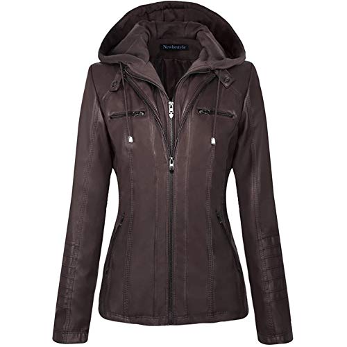 Newbestyle Women Spring and Autumn Hooded Faux Leather Jacket Hat Detachable Zipper Jacket Women Motorcyle Jacket,Dark Brown,X-Large - Classic Hooded Hat