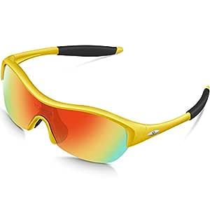 Torege Tr90 Flexible Kids Sports Sunglasses Polarized Glasses for Junior Boys Girls Age 3-15 TR001 (Yellow&Black Tips&Rainbow Lens)