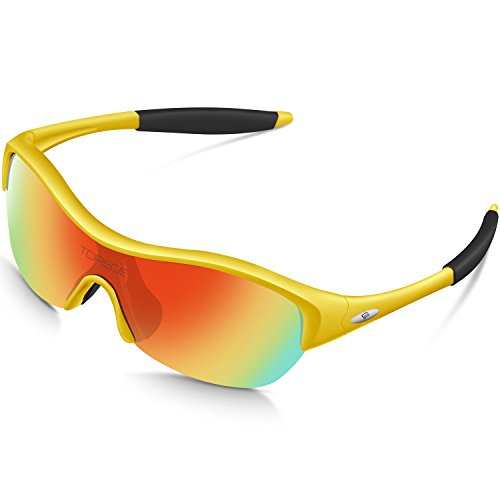 TOREGE Tr90 Flexible Kids Sports Sunglasses Polarized Glasses Boys Girls Age 3-15 Trk001 (Yellow&Black)