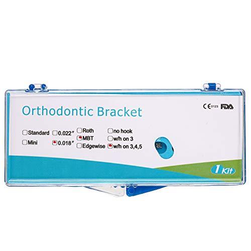 JMU Dental Orthodontic Bracket, Standard Brace MBT Slot.018 with 3-4-5 Hooks, Metal Monoblock MIM, Set of 20 Pieces
