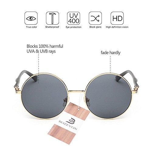 pour Lens Style gris de Circle femmes soleil Round Lunettes Retro Or BOZEVON 8U1px
