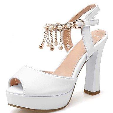 LvYuan Tacón Robusto-Confort-Sandalias-Informal Vestido-PU-Rojo Blanco Plata Silver