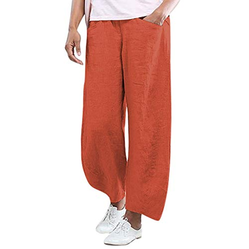 JOFOW Pants for Women Harem Capri Linen Casual Solid Loose High Waist Straight Leg Comfy Elegant Workwear Chic Crop Trousers (M,Orange)