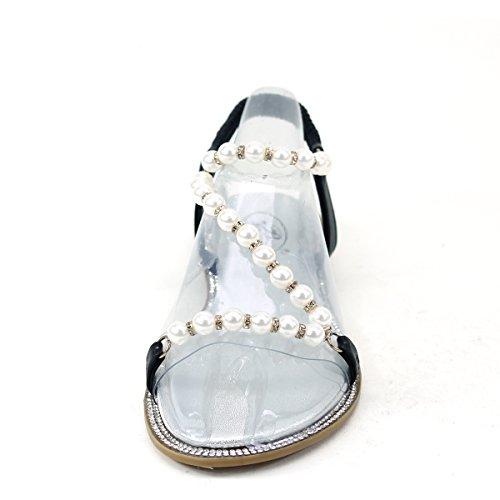 Nouveau Brieten Womens Bungee Mignon Perles Strass Strappy Confort Semelle Plate Sandales Noir