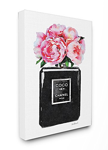 The Stupell Home Décor Collection Glam Perfume Bottle Flower Black Peony Pink Stretched Canvas Wall Art, 16 x 20,