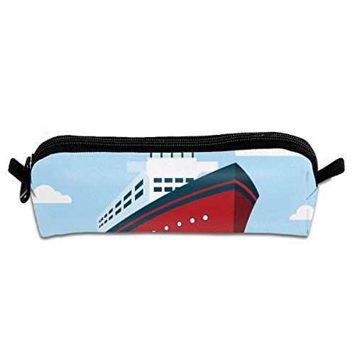 KutLong Icebreaker Ship Illustration Student Pencil Pen Case Zipper Pouch Small Cosmetic Makeup Bag Coin Purse?for Kids Teens and Other School Supplies