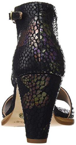 de Black Mujer Correa S990 Floral Negro para Floral Tobillo con Montua Neosens Sandalias Fantasy Black g866UnT
