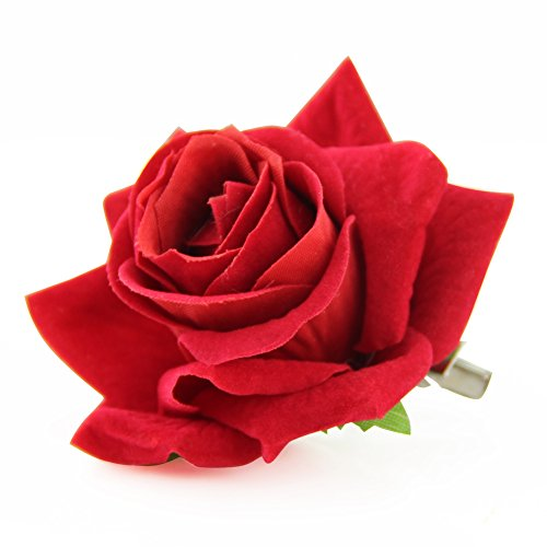 QtGirl Fabric Rose Hair Clips Flower Brooch for Women Teens at Party Ball Wedding (Red)