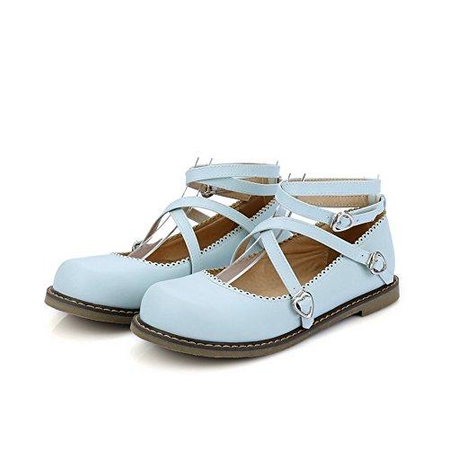 Women's Solid WeenFashion Low Shoes Blue Pumps Toe Round Buckle Heel Pu Uwrw41dq