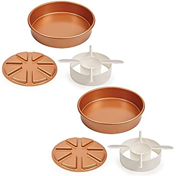 """Copper Chef Perfect Cake Pan 3 PC set BOGO- (2) 9 X 9"""" Cake Pan with 2 Magic Middle Pockets and 2 Magic Middle Cake Cutters"""