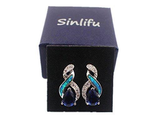 Sinlifu Silver Plated Earrings Fire Blue White Opal With Sapphire Tanzanite Topaz Design (Silver sets: Blue opal & Sapphire) by Sinlifu (Image #4)