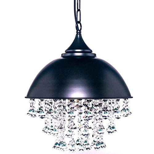 KIRIN Vintage Industrial Crystal Pendant Light Retro Wrought Iron Adjustable Metal Hanging Ceiling Light Chandelier with Hanging Crystal Luxury Lamps for Living Room
