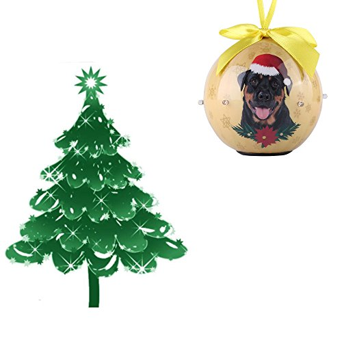 ECCRIS Decorations Exquisite Rottweiler Twinkling Light Collection Christmas Ball Ornament Decorations Tree Balls (Rottweiler)