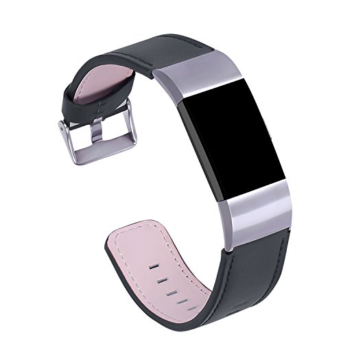 Hotodeal Genuine Leather Bands for Fitbit Charge 2, Business Fashion Watch Strap, (Watch Chrome Leather Band)
