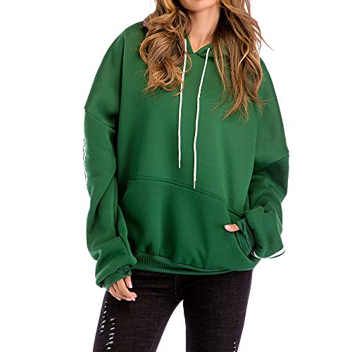 Kulywon Loose Women Plus Size Casual Solid Hooded Blouse Loose Striped Pocket Sweatshirt (Hooded Striped Rugby)