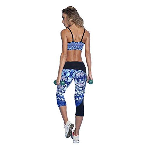 HARRYSTORE Mujer pantalones de yoga elásticos y deportivos de alta cintura de impresión Fitness Leggings Mujer capri polainas Blue-C