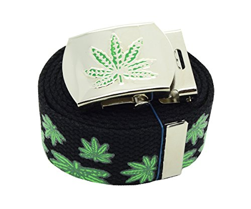 Marijuana-Leaf-Canvas-Military-3D-Black-Web-Belt-Buckle-60-inches