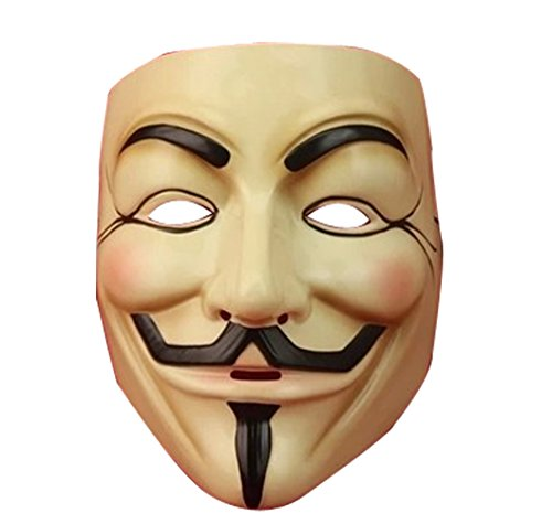 Hackers Popular Movie Theme with V for Vendetta Mask Mask - Beige
