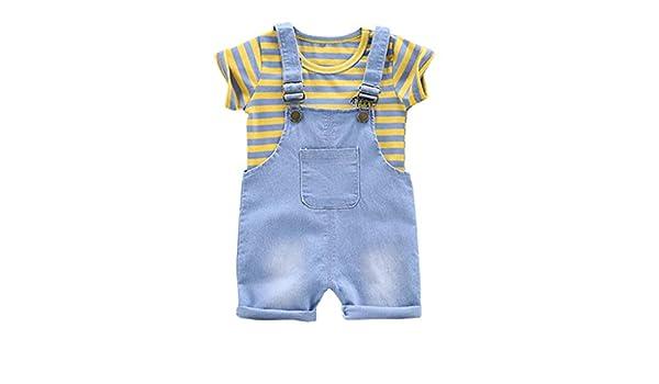 Camiseta Manga Corta Fossen Ropa Bebe Ni/ño Verano 2019 para 0-3 A/ños Recien Nacido Beb/é Conjunto de Dos Piezas Pantalones Cortos a Cuadros