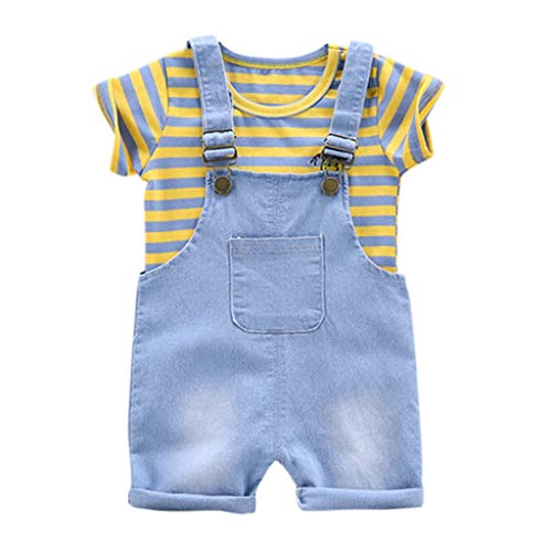 iHHAPY Toddler Kids Baby Boy Girl Clothes Set,Summer Stripe T-Shirt Tops Suspender Pants 2pcs Outfits Yellow