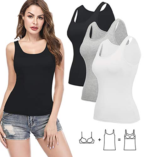KIWI RATA Camisoles for Women with Built in Bra, Summer Sleeveless Shirt Casual, Comfortable Padded Bra cami, Wide Straps Tank Top for Yoga 3 Pack Black White Grey XXL