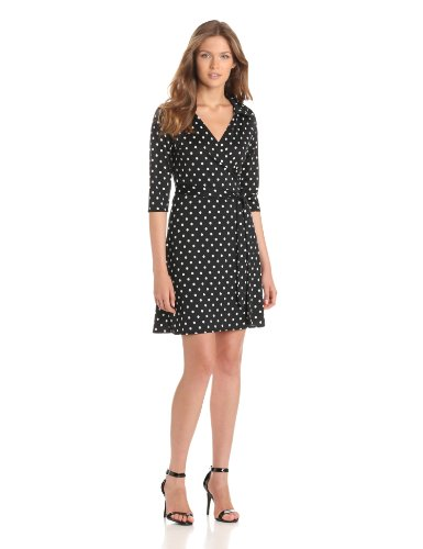 Star Vixen Women's 3/4 Sleeve Faux Wrap Dress, Black/White Dot, Large