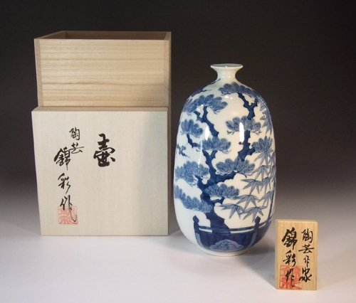 Arita - Imari pottery vase - Sho Chiku Bai | gifts | Gifts | souvenir | gift | potter Fujii NishikiAya