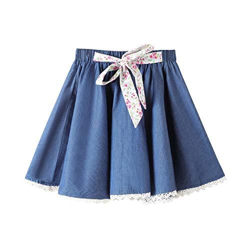 Skater Skirt for Girls Solid Color Denim Skirt with Lace Hem (Blue with Strape, 12)