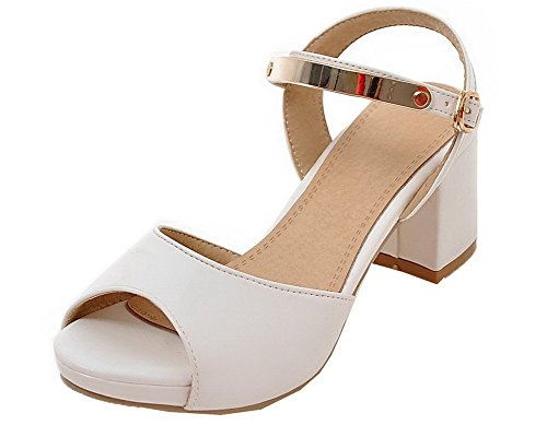 Kitten Open PU Toe Sandals White WeenFashion Heels Women's Buckle Solid Ya1Bw